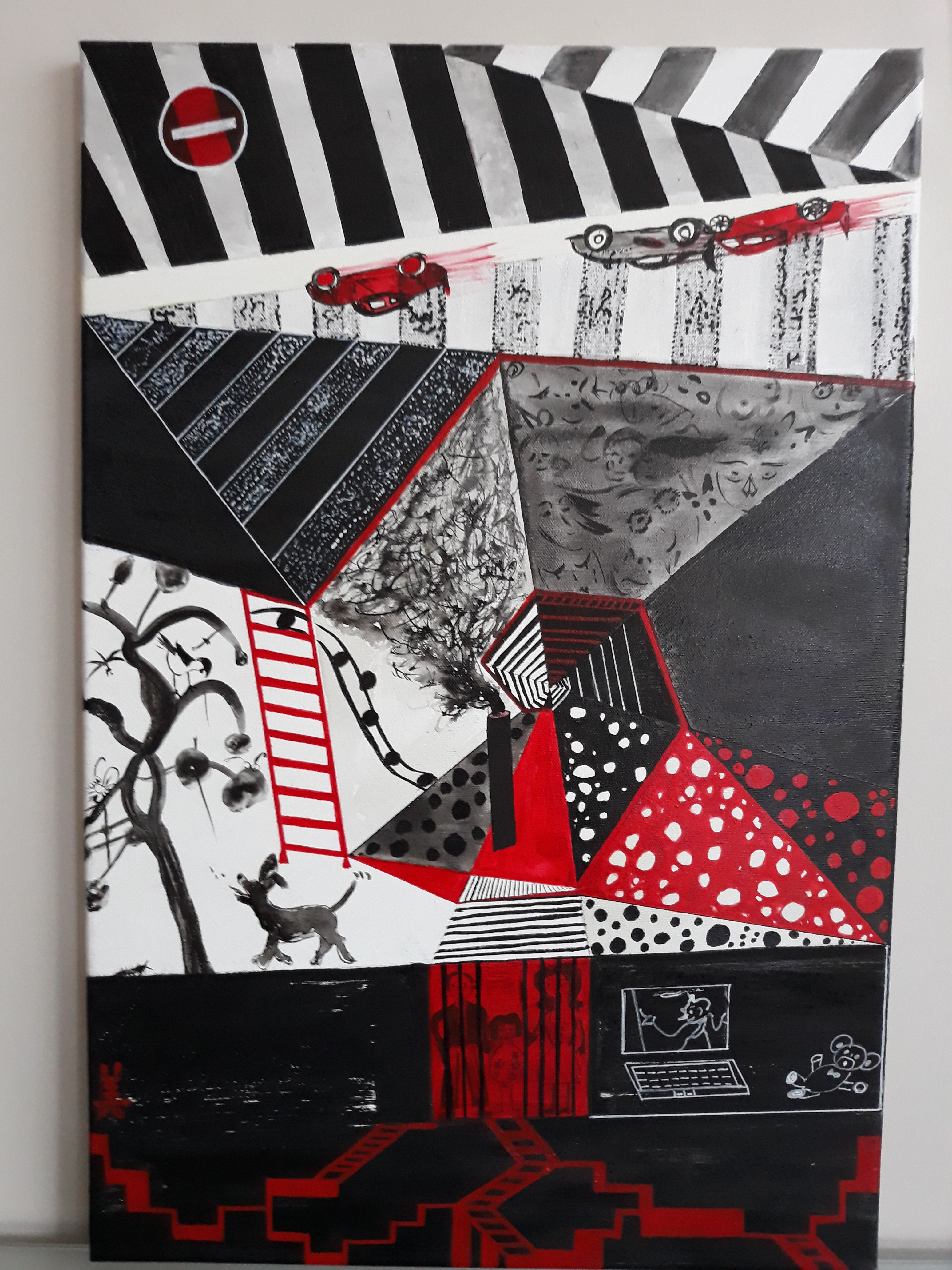 serie de 4 tableaux 2) maintenant 40cm x 50cm le fond acrylique avec l'encre de chine et ganryo rouge
