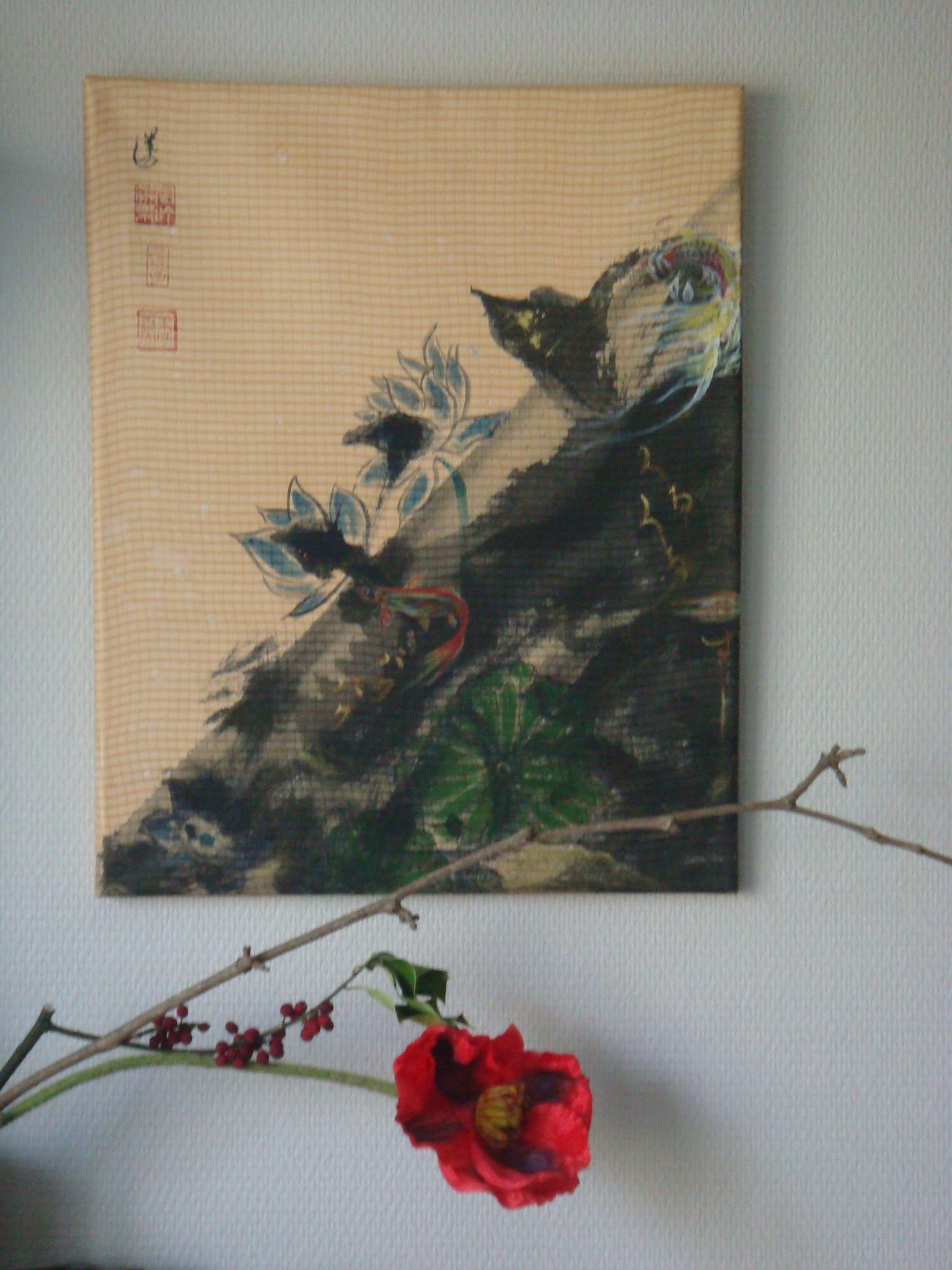 sans title la soie maroufler sur la toile de cotton 40cm x 50cm 250€