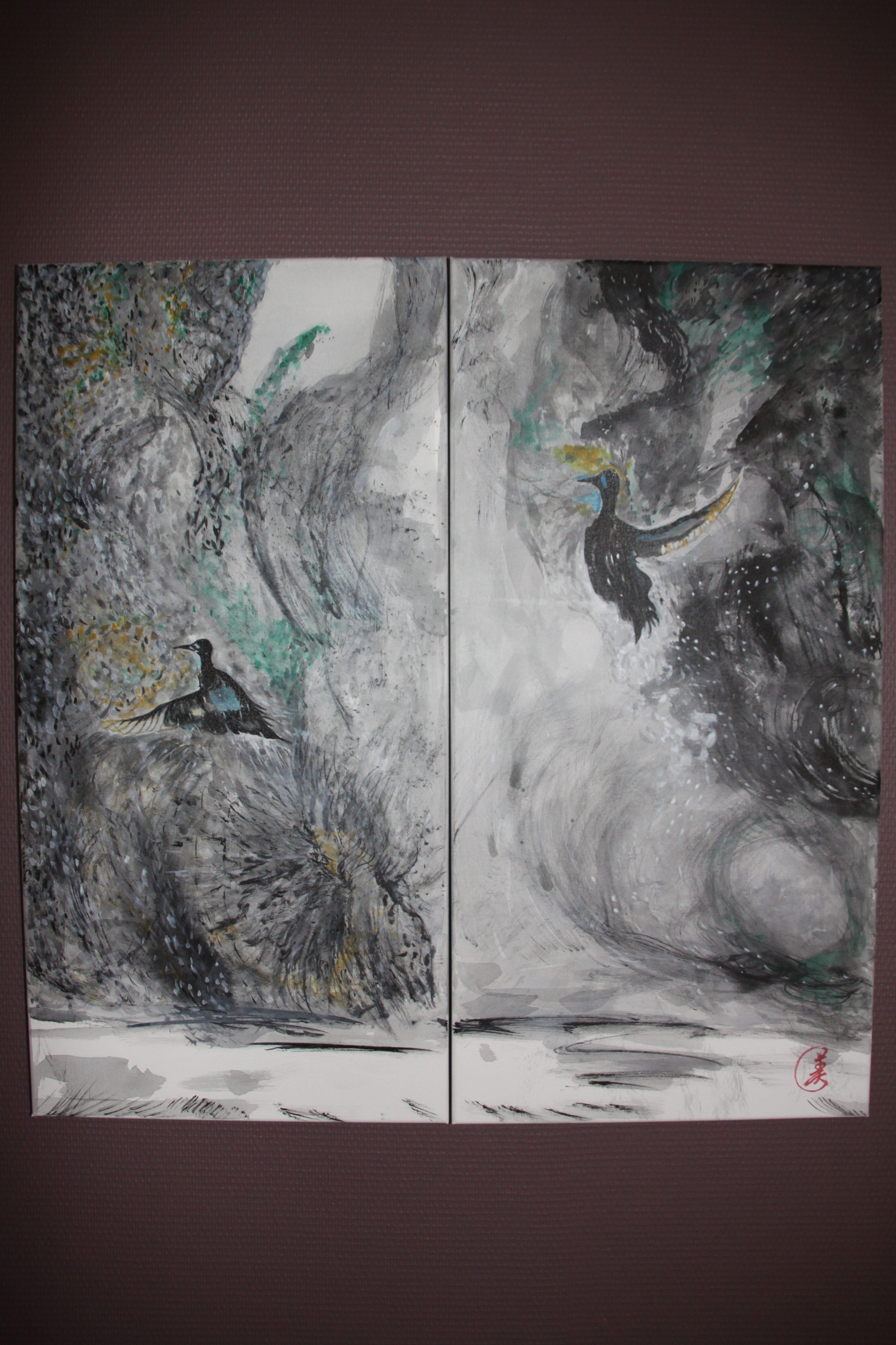 sans title ( 40cm x 80cm) 2fois =80cm x 80cm L'encre de chine et ganryo sur la toile de lin